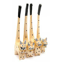 Набор кольцедержателей деревянный Кошки