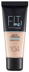 Тональный крем для лица матирующий Maybelline New York Fit Me, оттенок 104