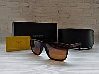 Очки мужские солнцезащитные Армани Armani коричневые матовые (реплика)