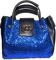 Женские сумки блестки и старзы (синий)28*32