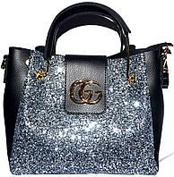 Женские сумки блестки и старзы (серебро)28*32