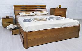 ✅ Дерев'яне ліжко Маріта Люкс з ящиками 120х190 см ТМ Аурель (Олімп)