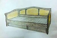 """Односпальная кровать с ящиками """"Барселона"""". Массив - сосна, ольха, береза, дуб."""