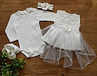Очень красивый набор для девочки на крещение, на праздник Турция от 1 до 3 мес.
