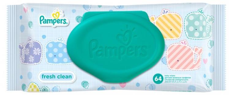 Детские влажные салфетки PAMPERS Fresh Clean, 64шт.