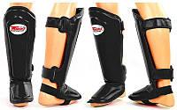 Накладки защитные для голени и стопы ММА кожаная TWINS SGL-10-BK (р-р S-XL, черный)