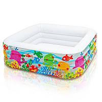 Детский надувной бассейн Intex 57471, Квадрат, 3 кольца,424 л, 3,73 кг, 159-159-50см