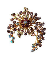 Брошь (брошка) Цветок Золотая с бордовыми стеклянными стразами 5x6 см 1 шт