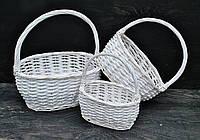 """Набор белых плетеных корзин """"Овал малый"""", 3шт"""