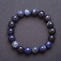 Браслет из натурального камня Содалит на резинке шарик d-10мм обхват 18см