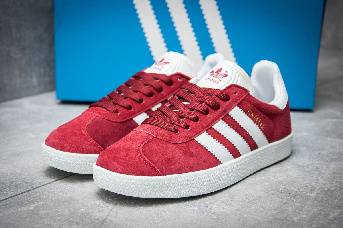 Кроссовки Женские Adidas Gazelle, Красные 11891 — в Категории