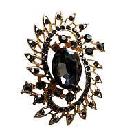 Брошь (брошка) Золотая с черными стеклянными стразами 3.5x5 см 1 шт
