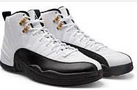 Баскетбольные мужские кроссовки Nike Air Jordan 12 retro taxi Black white gold реплика