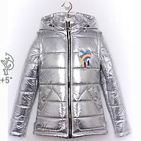 Куртка-жилетка детская серебро для девочки, фото 1