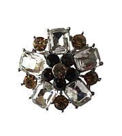 Брошь (брошка) Серебряная с Белыми и коричневыми стеклянными стразами 3.5 см 1 шт