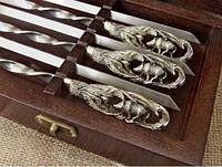 """Шампура с бронзовыми ручками  """"Кабан"""" кейс из натурального дерева"""