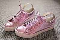 Женские кроссовки кеды лак Chrome Pink Италия весна 40