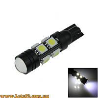 Авто-лампы с линзой W5W T10 8 SMD + 1 COB LED 6000K (габариты, светодиодные лампы для авто)