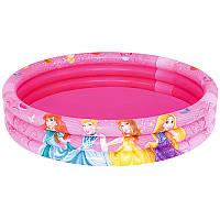 Бассейн детский надувной 91047 Принцессы, круглый, 3 кольца, 122-25см, объем 140 литров