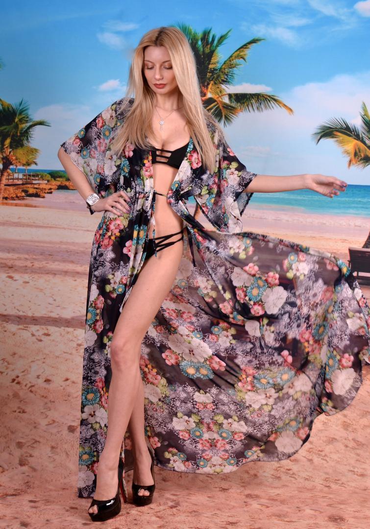 d7c6f35883a97 Эксклюзивная пляжная шифоновая длинная туника макси под купальник с  принтом, фото 1