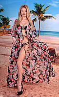Эксклюзивная пляжная шифоновая длинная туника макси под купальник с принтом