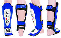 Надежная защита для голени и стопы ММА кожаная VELO ULI-7021-B (р-р M-L, синий)