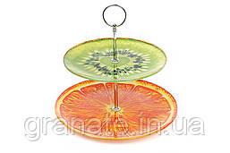 Фруктовница двухъярусная стеклянная Киви-Апельсин
