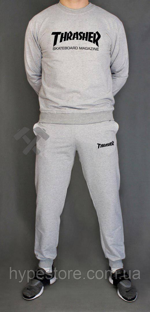 Спортивный серый костюм Thrasher(серый c черным логотипом), Реплика