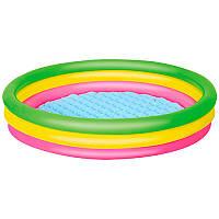Детский надувной бассейн с надувным дном 51104, круглый, 102-25см, 3 кольца