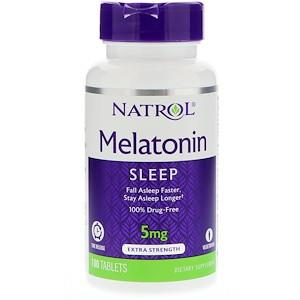 Мелатонин, медленное высвобождение, 5 мг, 100 таблеток, Natrol