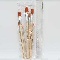 Набірр кистей синтетика плоские 7шт, OPP (2, 4, 6, 8, 10, 12, 14)