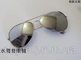 Очки капли Aviator солнцезащитные зеркальные Silver S 2017