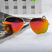 Очки капли Aviator солнцезащитные зеркало Brown G