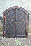 """Дверка  коптильни 2х ств.""""арка"""" 570*500 мм металл+ковка """"елка"""""""