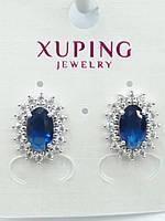 584. Бижутерия родий. Серьги с синими камнями оптом. Xuping - Бижутерия под серебро.