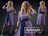 Платье с юбочкой солнце, дополненное пояском.  Цвет - фиалка, синий. Цвет - ментол, синий. Цвет - белый, черны