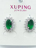 585. Бижутерия из родия. Серьги с зелёными кристаллами оптом. Xuping - Бижутерия под серебро.