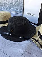 Летняя шляпка канотье Gucci черная (реплика), фото 1