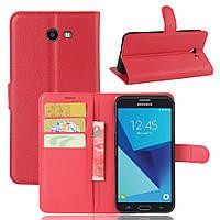 Чехол для Samsung Galaxy J5 2017 J520 J520F US Version книжка кожа PU красный