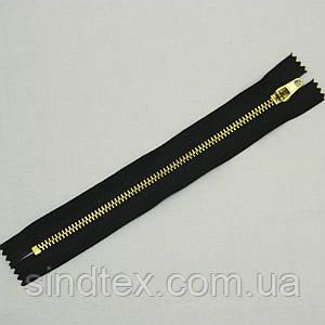 Застежка-молния металлическая 18 см, черная (золото)