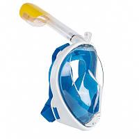 Маска FREE BREATH подводная, для плавания, ныряния, снорклинга. Детские от 4-х лет. Взрослая, S/M, Маска, Синий, Бесцветные линзы