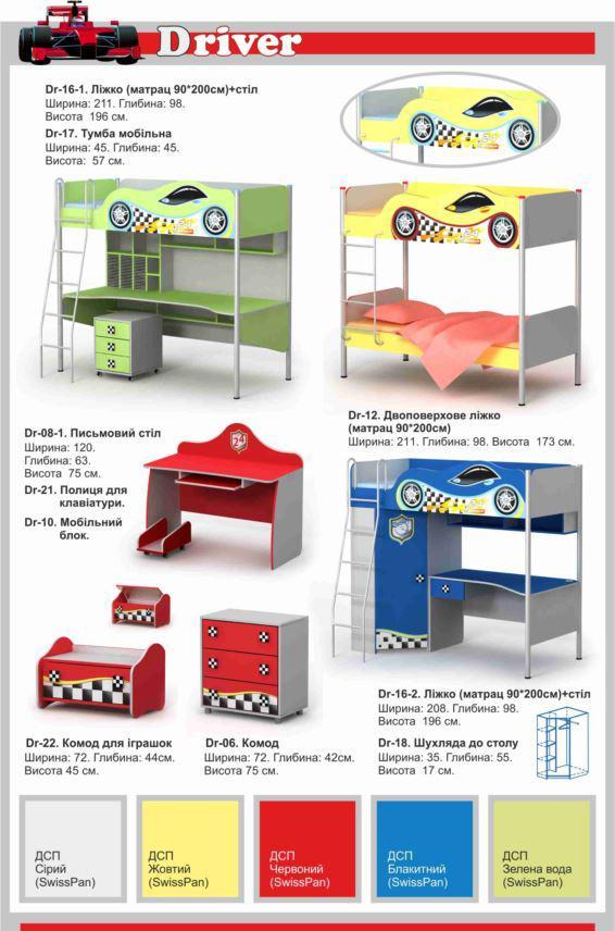 Детская мебель Driver в ассортименте