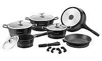 Набор BIO посуды Royalty Line RL-ES2014M ( Black ) с мраморным покрытием