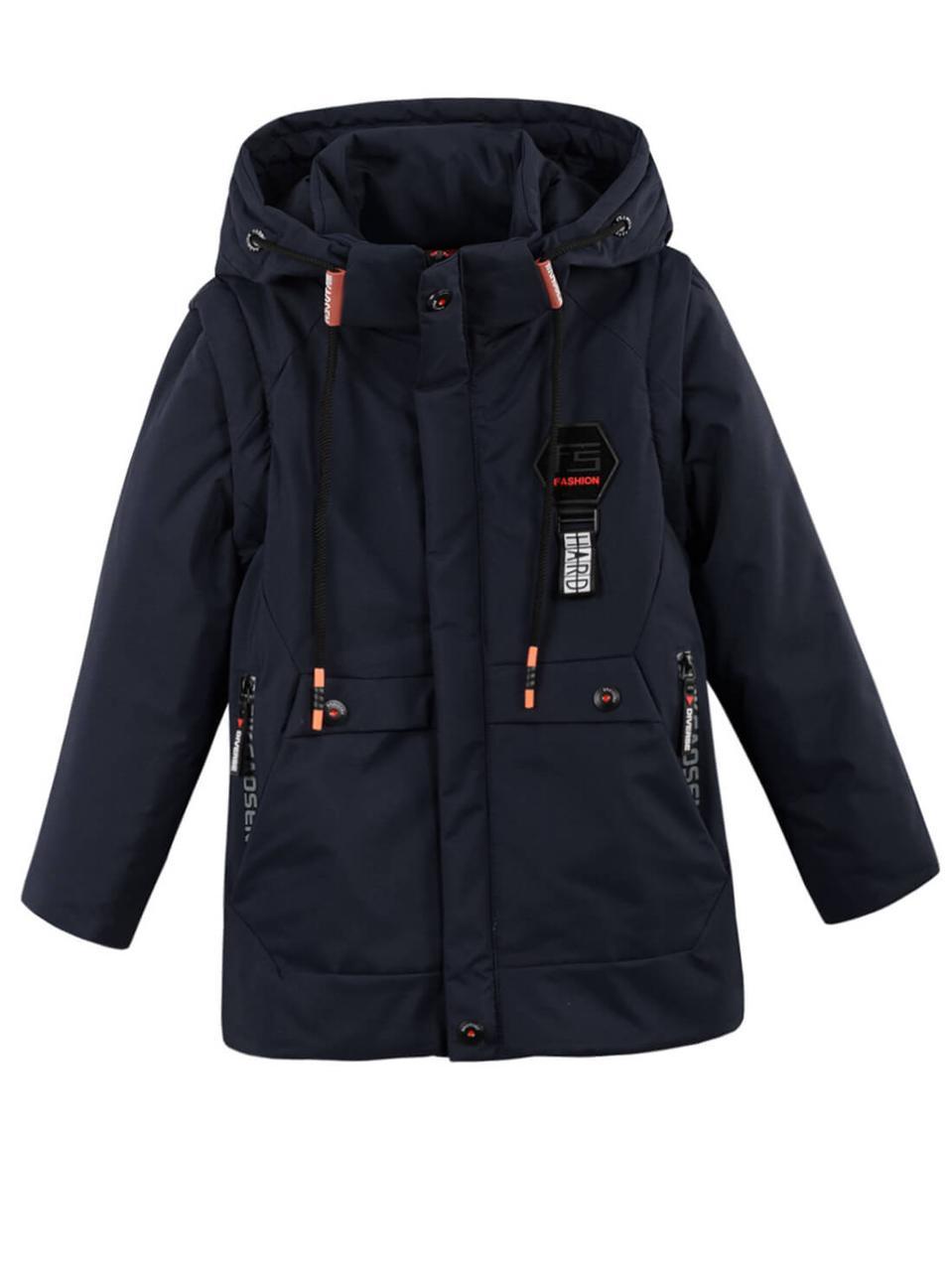 Детская демисезонная куртка жилетка на мальчика, т. синяя, р.140,152