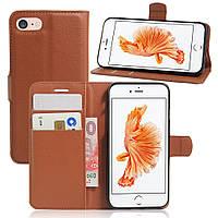 Чехол Книжка для iPhone 5 / 5s кожа PU коричневый