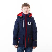 """Куртка-жилет для мальчика демисезонная """"Крис"""" синий+красный"""