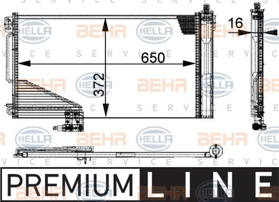 Радиатор кондиционера Mercedes C-Class W203 650*370мм по сотах (с осушителем) KEMP