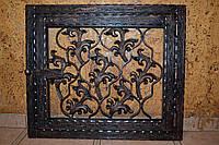 Дверка  коптильни  стекло  400*400 мм металл+ковка