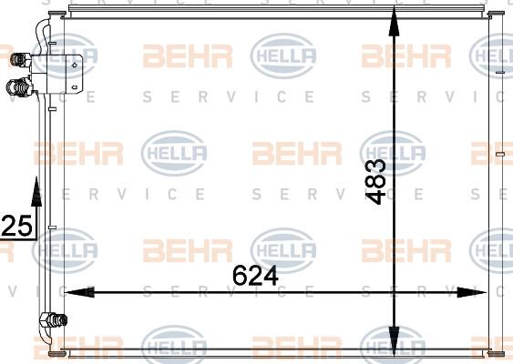 Радиатор кондиционера Mercedes E-Class W210 622*480мм по сотах (без осушителя) KEMP