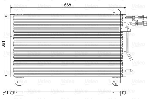 Радиатор кондиционера Mercedes Sprinter 2-4t 665*371мм по сотах (без осушителя) KEMP